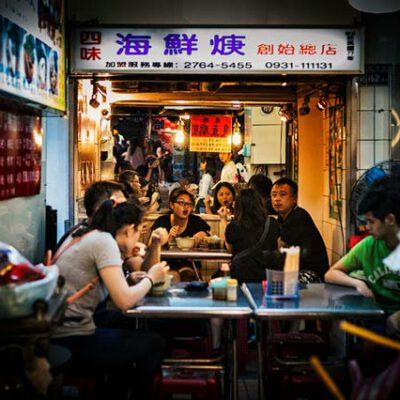 fotografia urbana de noche por taiwan